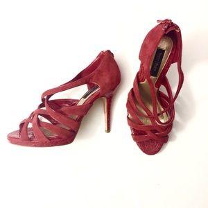 4f5c3f1f16153 ... the Kloth jean jacket WHBM strappy red heels ...
